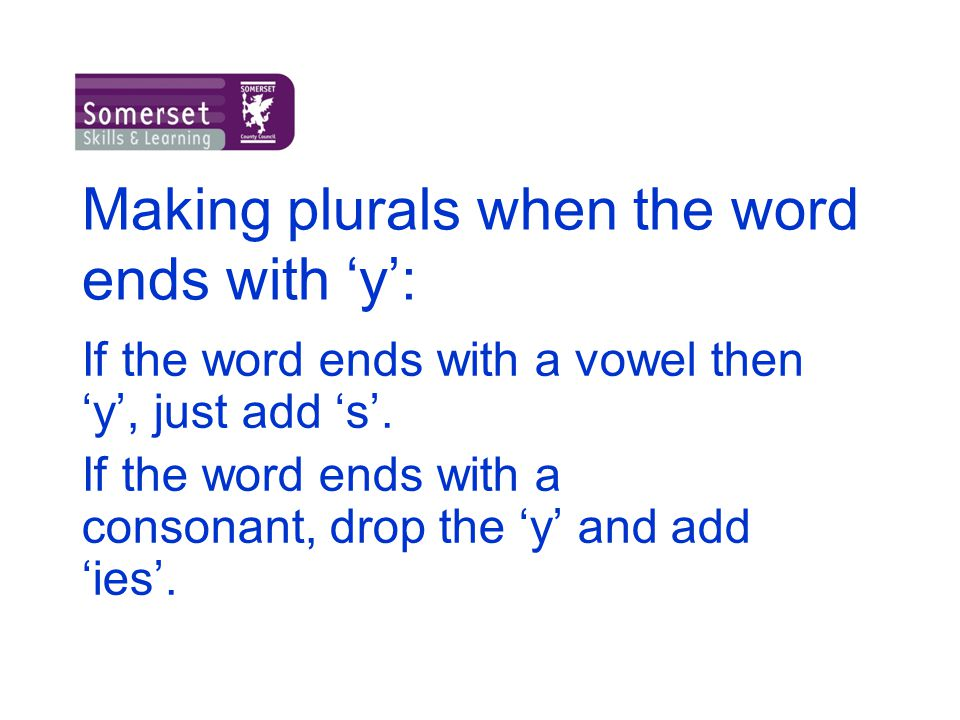 Making plurals when the word ends with 'y':
