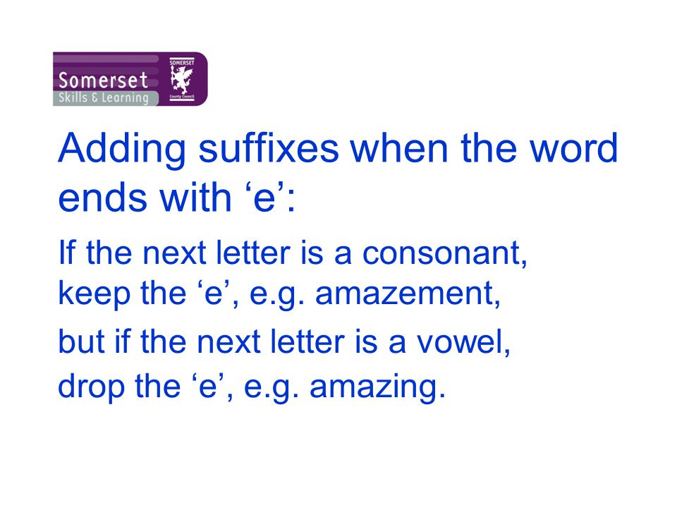 Adding suffixes when the word ends with 'e':