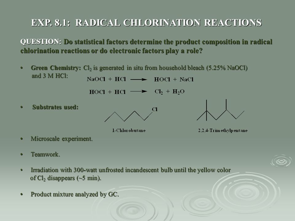 EXP. 8.1: RADICAL CHLORINATION REACTIONS