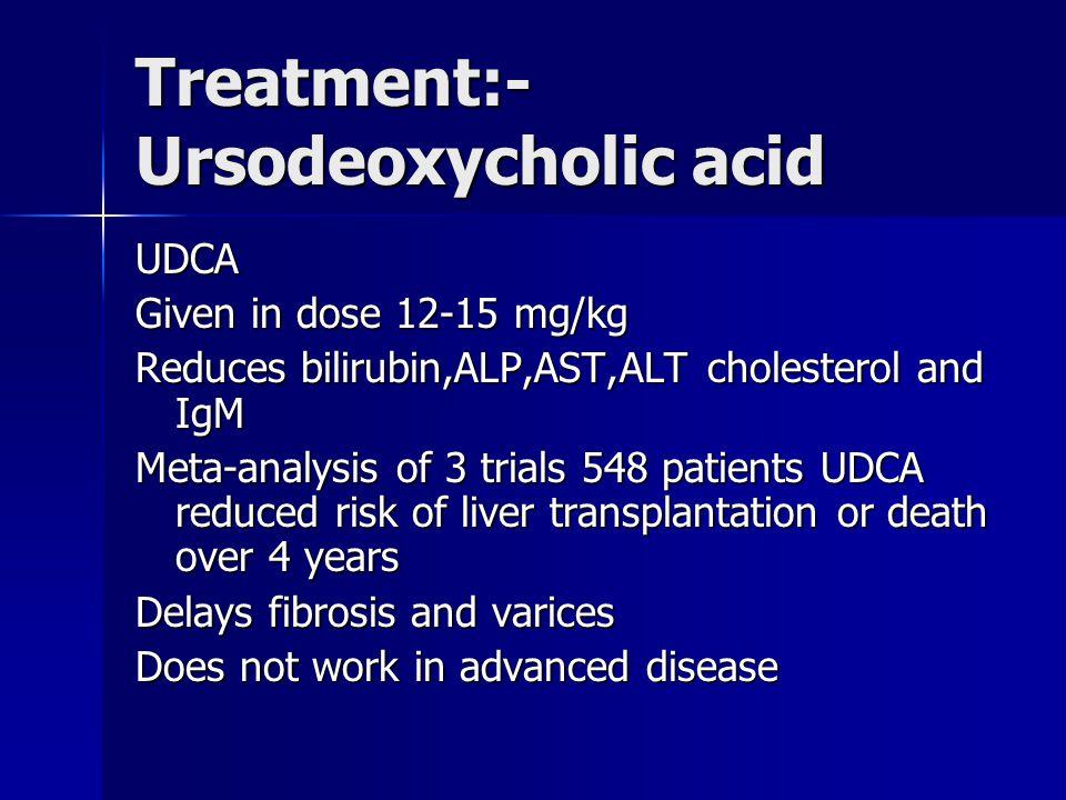 Treatment:-Ursodeoxycholic acid