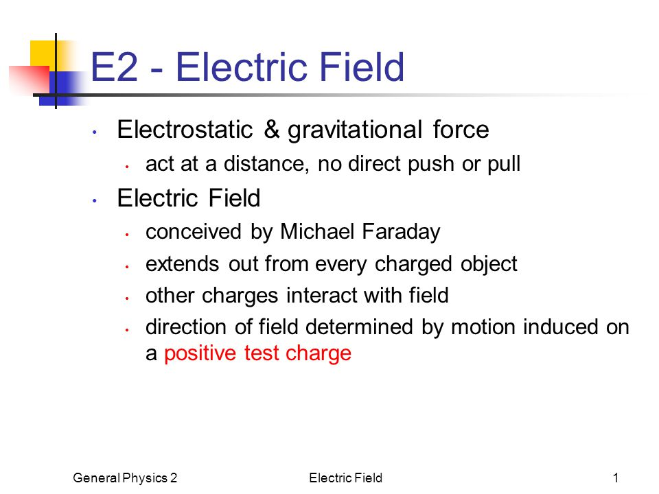 E2 - Electric Field Electrostatic & gravitational force Electric Field