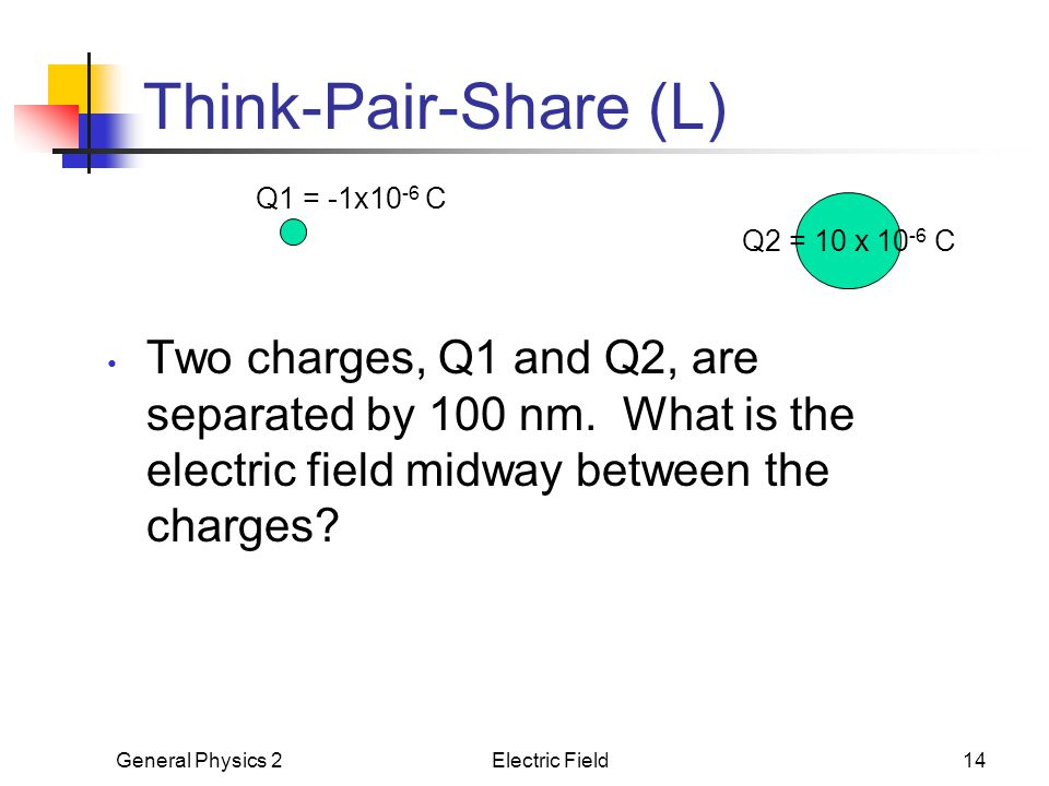 Think-Pair-Share (L) Q1 = -1x10-6 C. Q2 = 10 x 10-6 C.