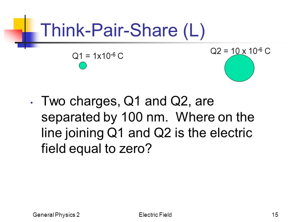 Think-Pair-Share (L) Q2 = 10 x 10-6 C. Q1 = 1x10-6 C.