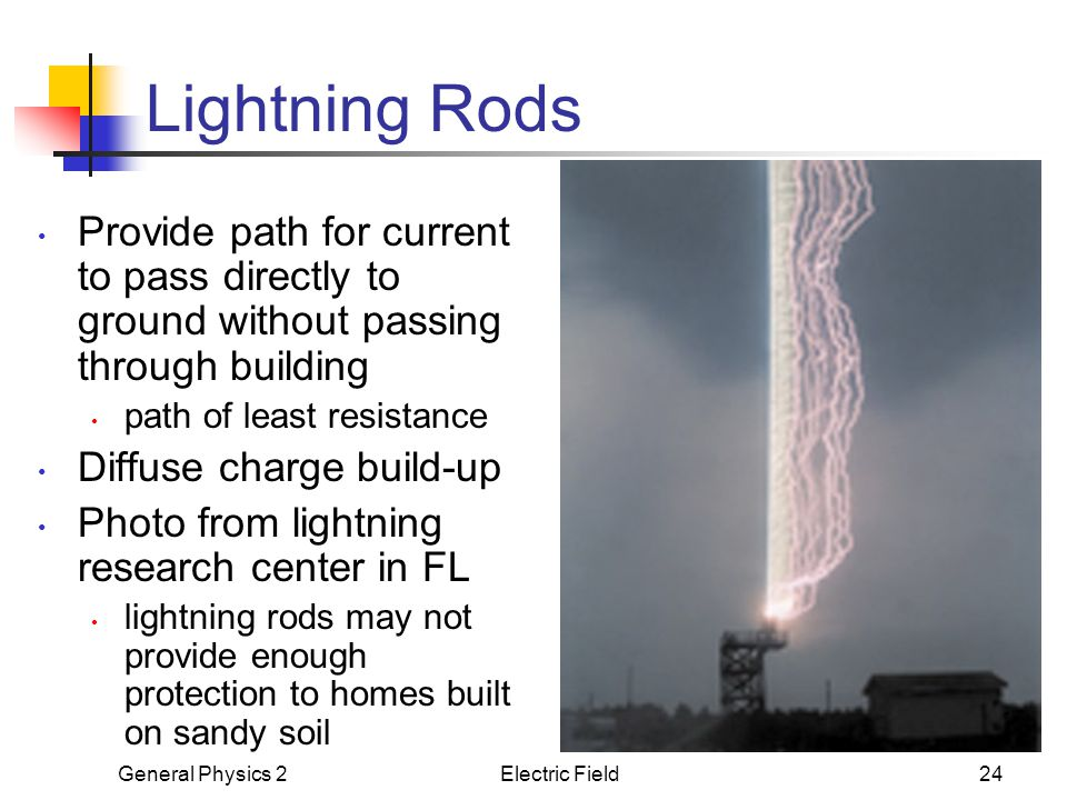 Lightning Rods Provide path for current to pass directly to ground without passing through building.