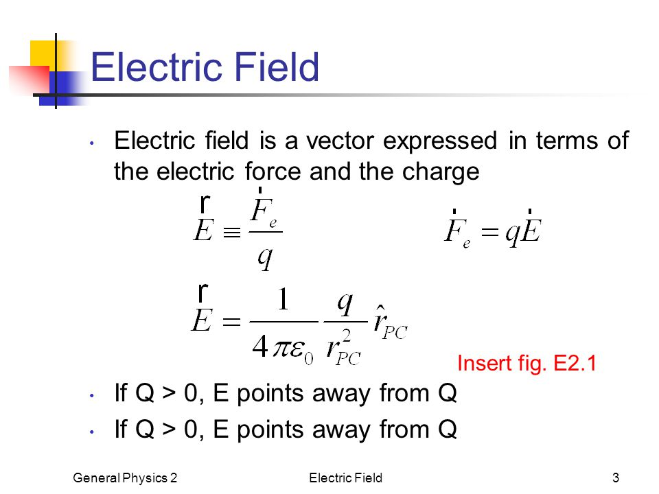 Electric Field Electric field is a vector expressed in terms of the electric force and the charge. If Q > 0, E points away from Q.