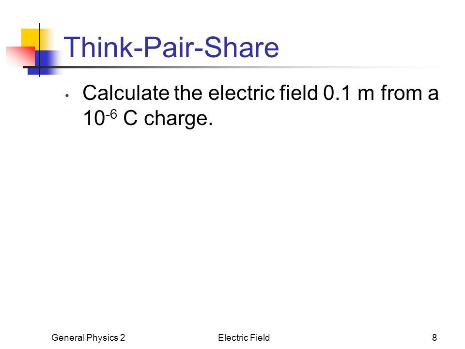 Think-Pair-Share Calculate the electric field 0.1 m from a 10-6 C charge. E = kq/r^2 = 9E9*1E-6/.1^2 = 9E5.