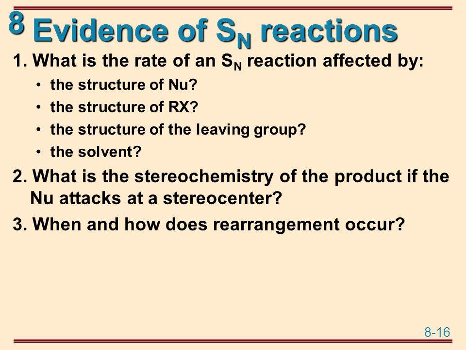 Evidence of SN reactions