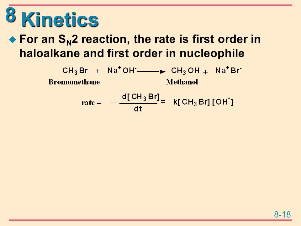 Kinetics For an SN2 reaction, the rate is first order in haloalkane and first order in nucleophile