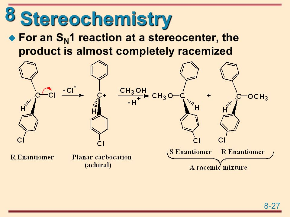 Stereochemistry For an SN1 reaction at a stereocenter, the product is almost completely racemized