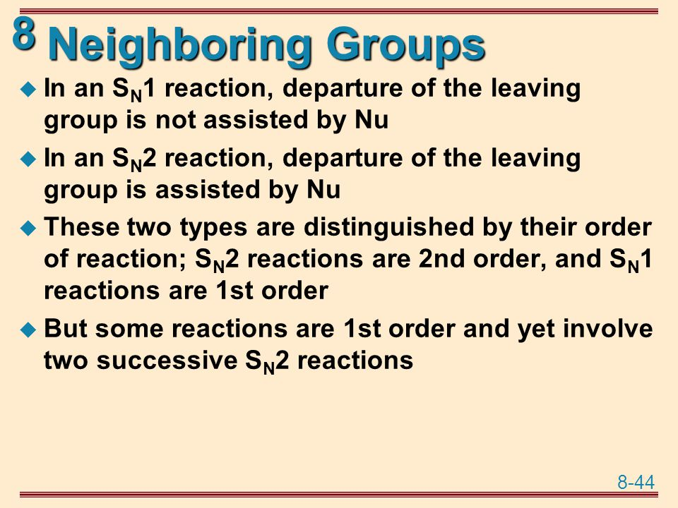 Neighboring Groups In an SN1 reaction, departure of the leaving group is not assisted by Nu.
