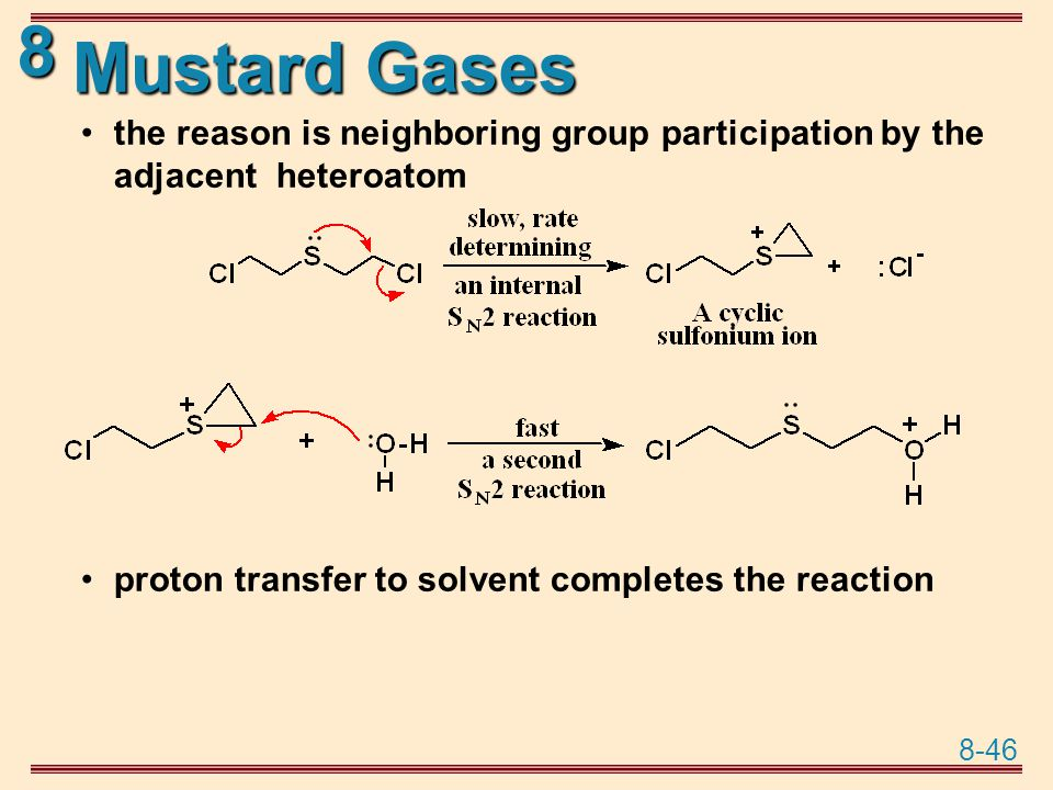 Mustard Gases the reason is neighboring group participation by the adjacent heteroatom.