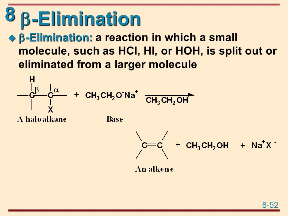 -Elimination -Elimination: a reaction in which a small molecule, such as HCl, HI, or HOH, is split out or eliminated from a larger molecule.