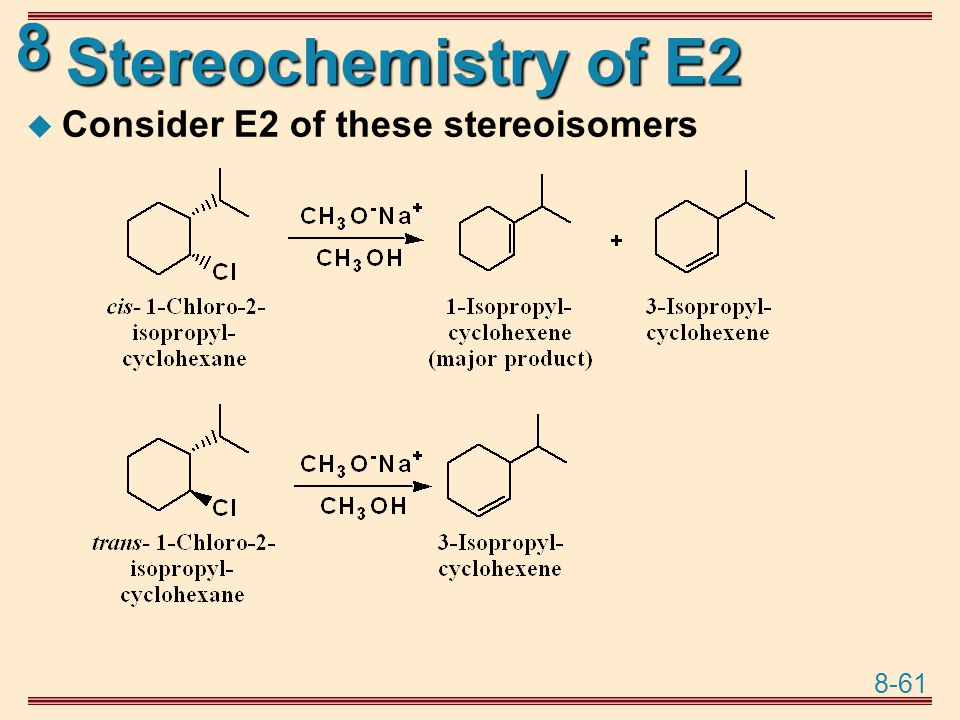 Stereochemistry of E2 Consider E2 of these stereoisomers