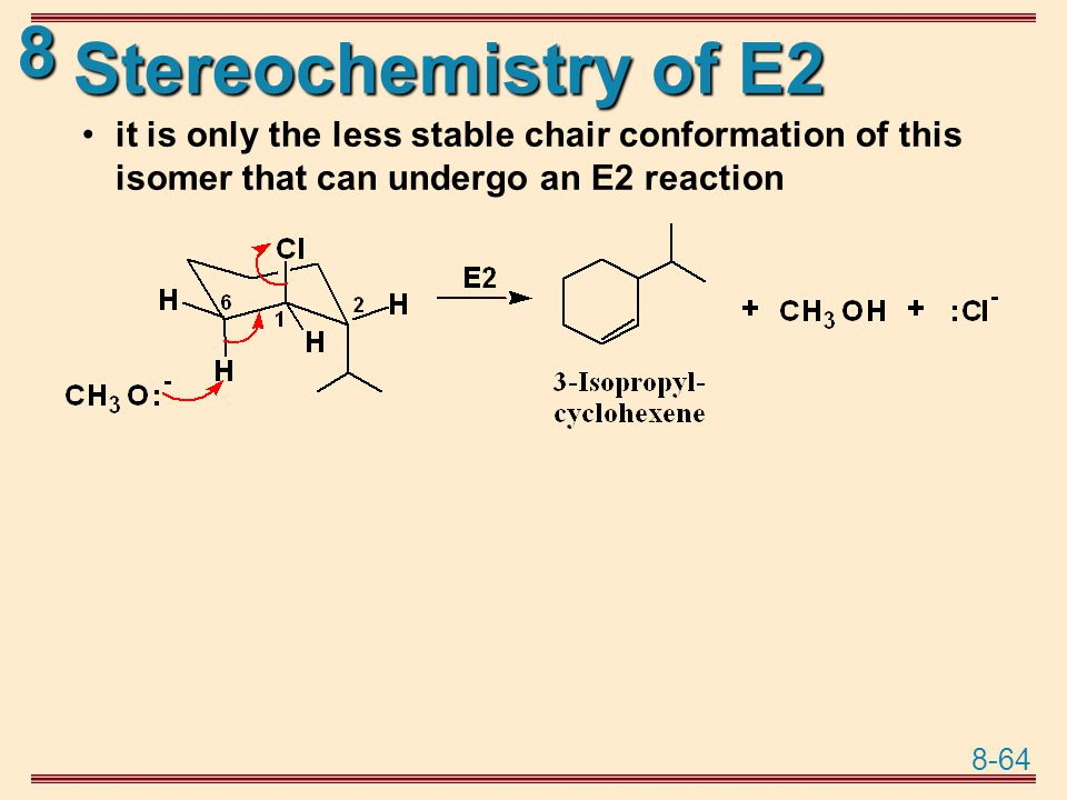 Stereochemistry of E2 it is only the less stable chair conformation of this isomer that can undergo an E2 reaction.
