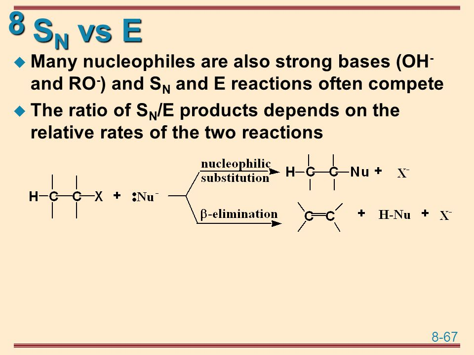 SN vs E Many nucleophiles are also strong bases (OH- and RO-) and SN and E reactions often compete.