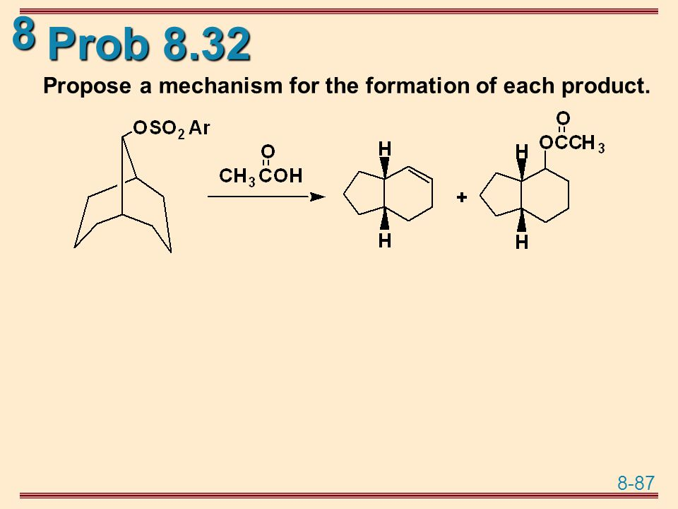 Prob 8.32 Propose a mechanism for the formation of each product.