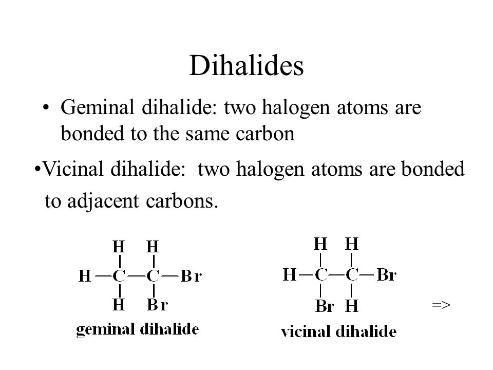 Dihalides Geminal dihalide: two halogen atoms are bonded to the same carbon. Vicinal dihalide: two halogen atoms are bonded.