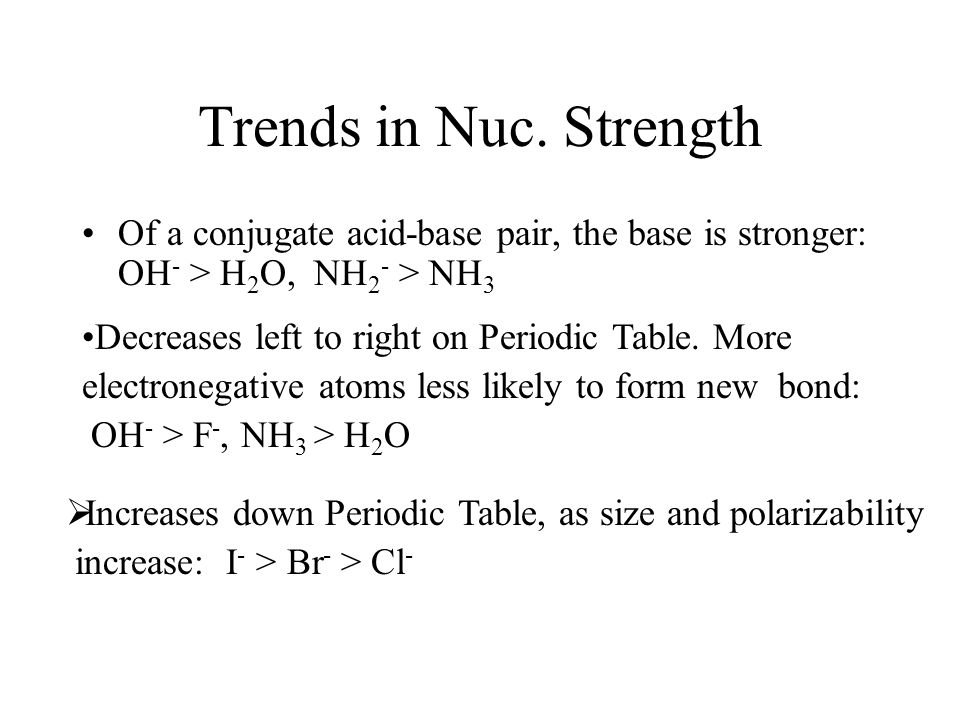 Trends in Nuc. Strength Of a conjugate acid-base pair, the base is stronger: OH- > H2O, NH2- > NH3.