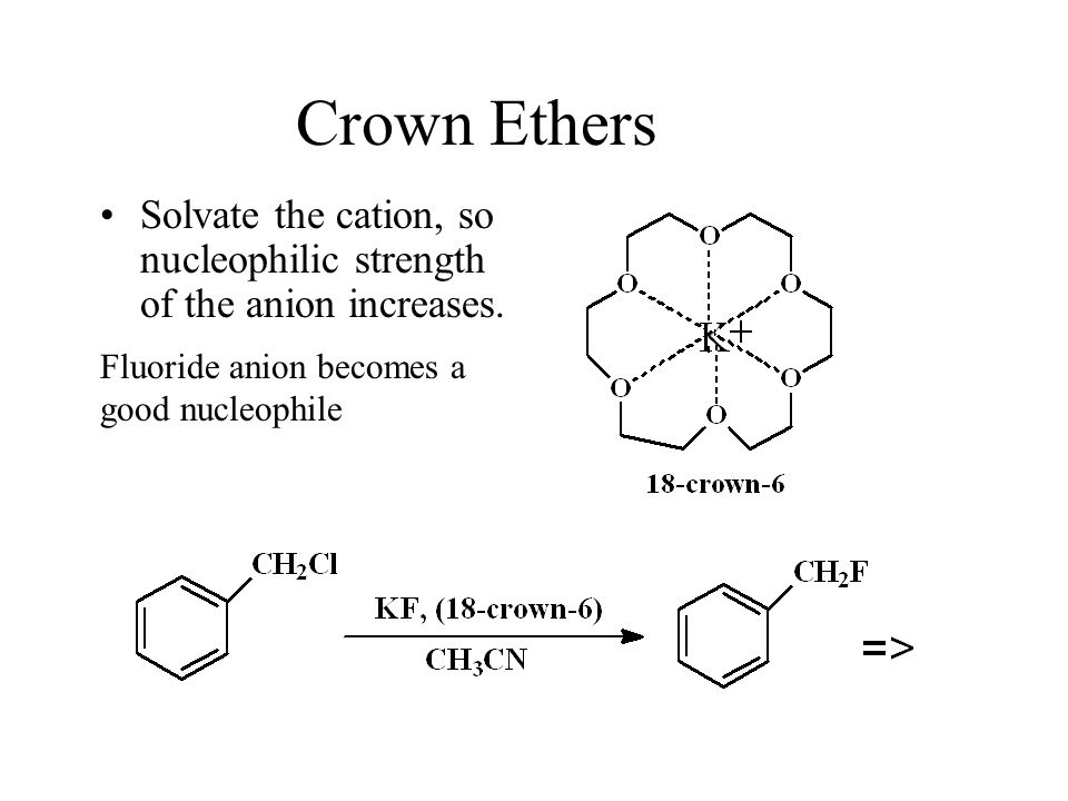 Crown Ethers Solvate the cation, so nucleophilic strength of the anion increases. Fluoride anion becomes a.