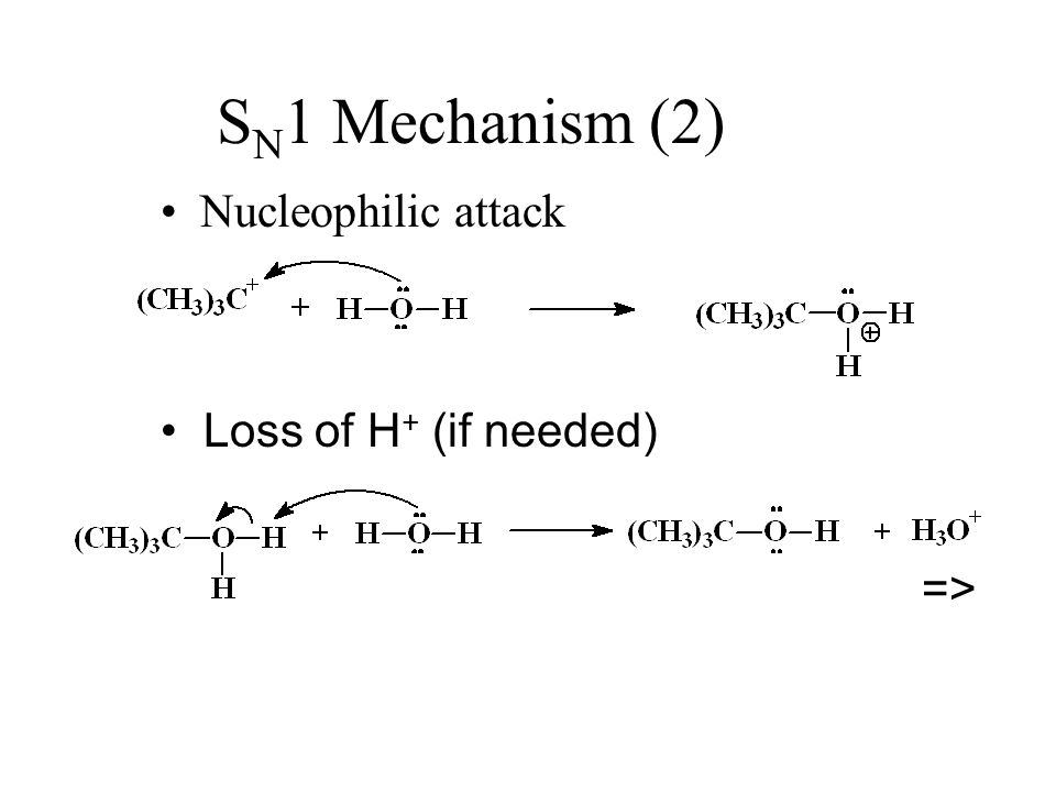 SN1 Mechanism (2) Nucleophilic attack Loss of H+ (if needed) =>