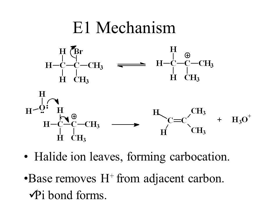 E1 Mechanism Halide ion leaves, forming carbocation.