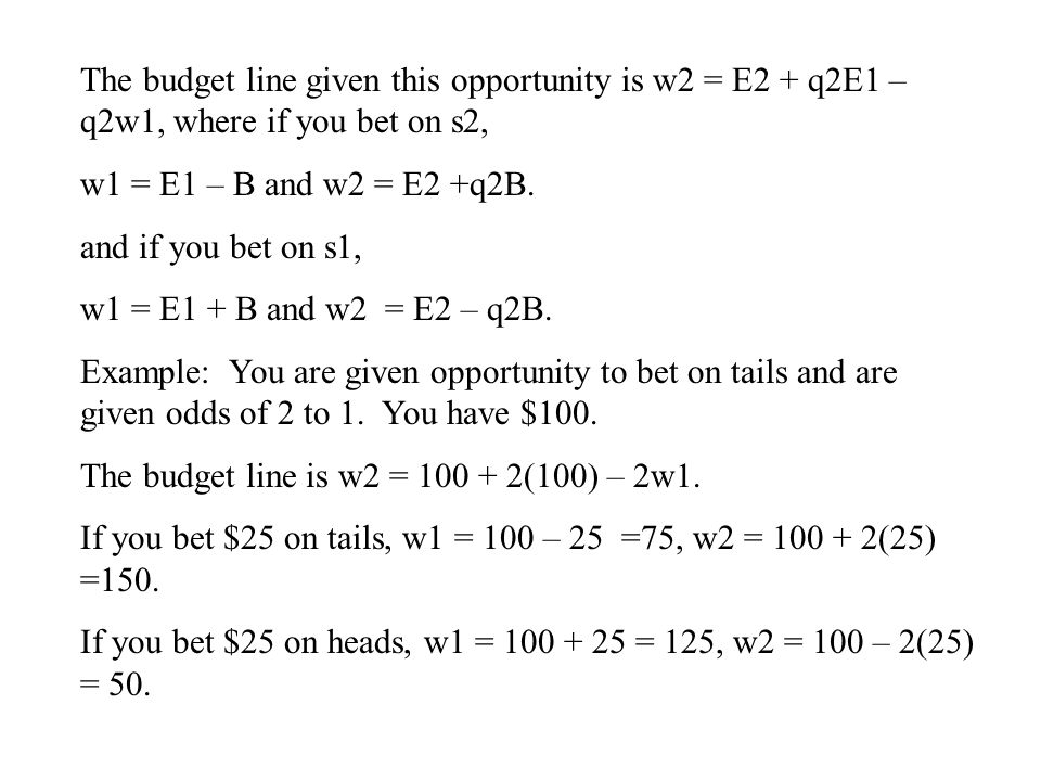 The budget line given this opportunity is w2 = E2 + q2E1 – q2w1, where if you bet on s2,