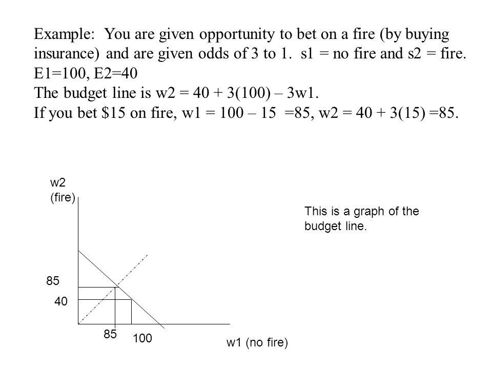 The budget line is w2 = 40 + 3(100) – 3w1.