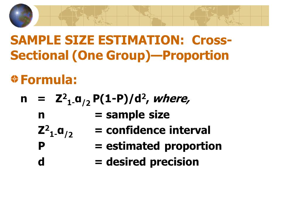 SAMPLE SIZE ESTIMATION: Cross-Sectional (One Group)—Proportion