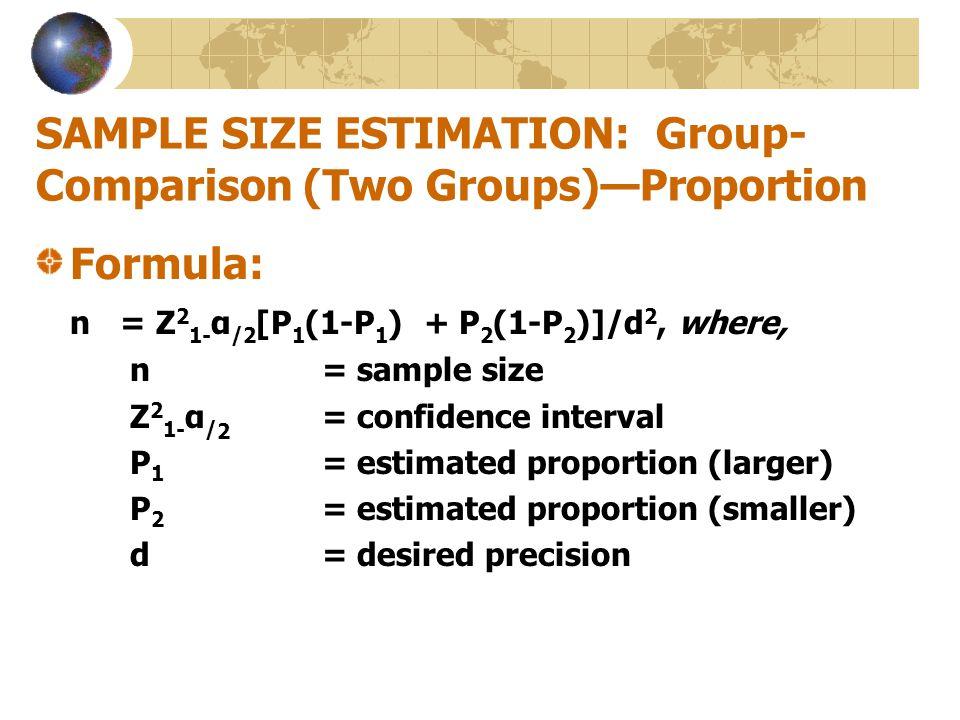 SAMPLE SIZE ESTIMATION: Group-Comparison (Two Groups)—Proportion