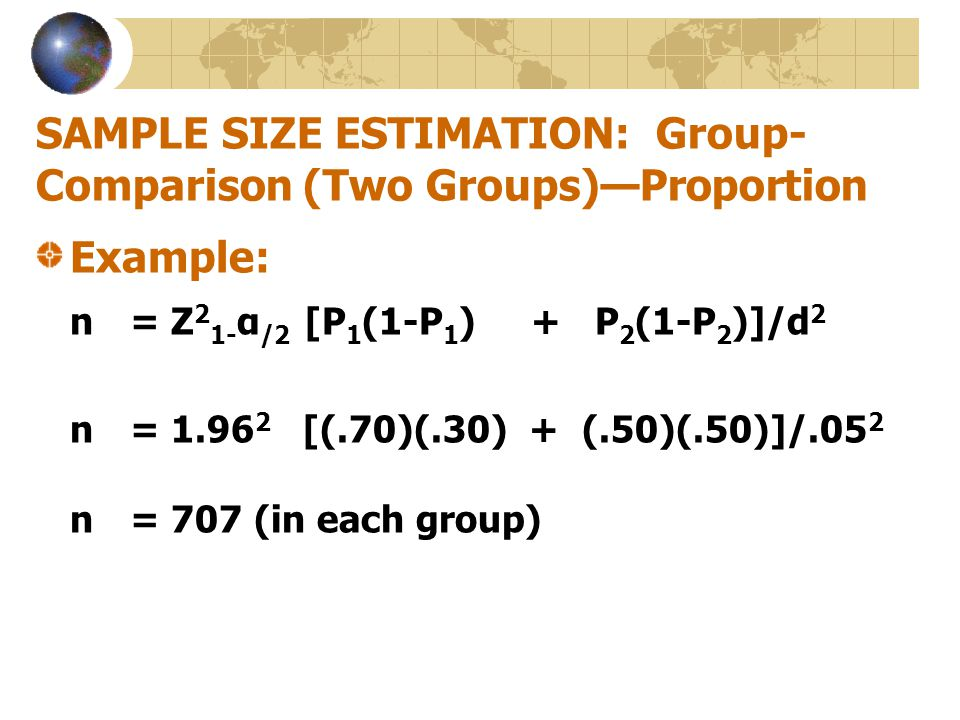 SAMPLE SIZE ESTIMATION: Group-Comparison (Two Groups)—Proportion