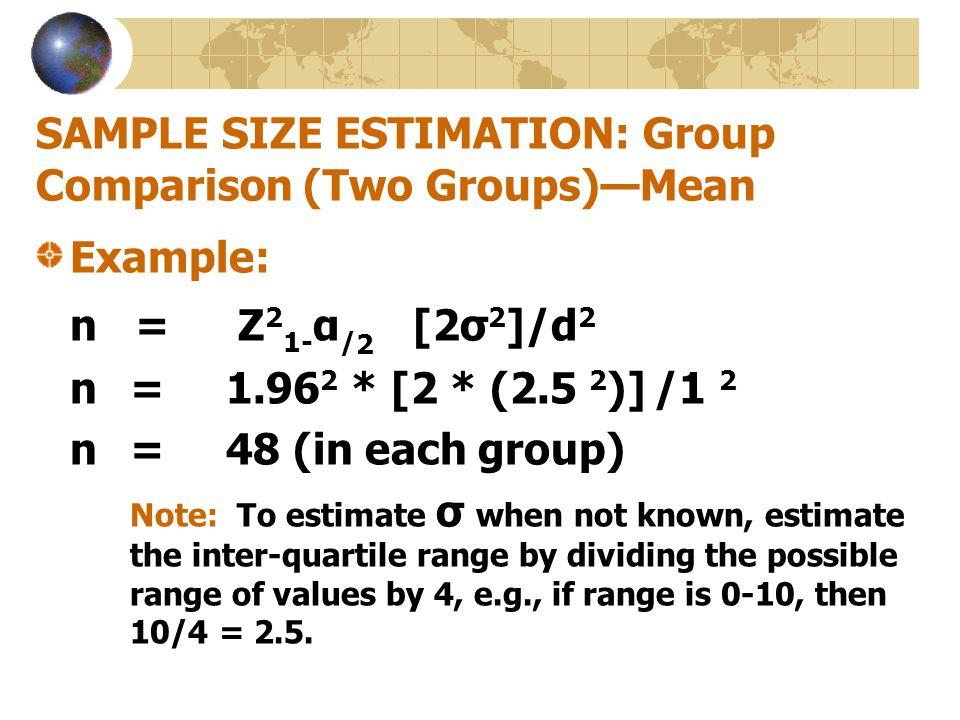 SAMPLE SIZE ESTIMATION: Group Comparison (Two Groups)—Mean