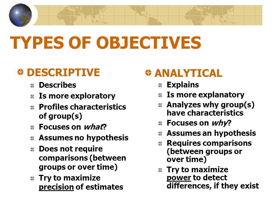 TYPES OF OBJECTIVES DESCRIPTIVE ANALYTICAL Describes Explains