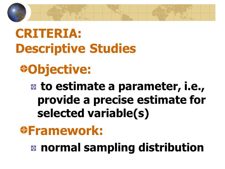 CRITERIA: Descriptive Studies
