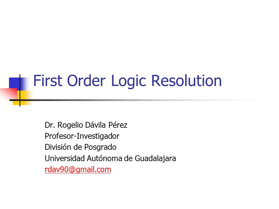 First Order Logic Resolution