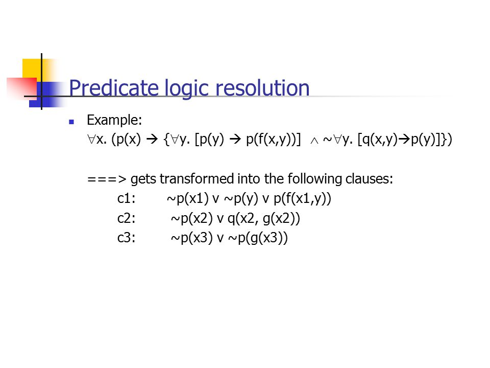 Predicate logic resolution