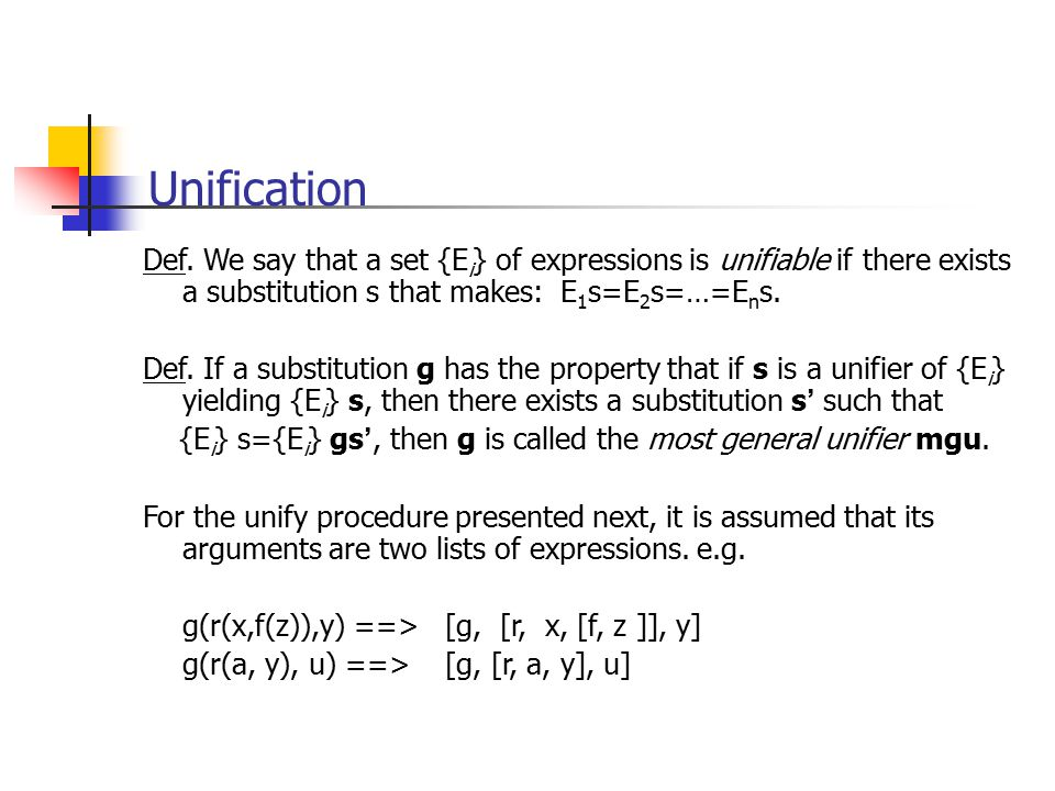 Unification Def. We say that a set {Ei} of expressions is unifiable if there exists a substitution s that makes: E1s=E2s=…=Ens.