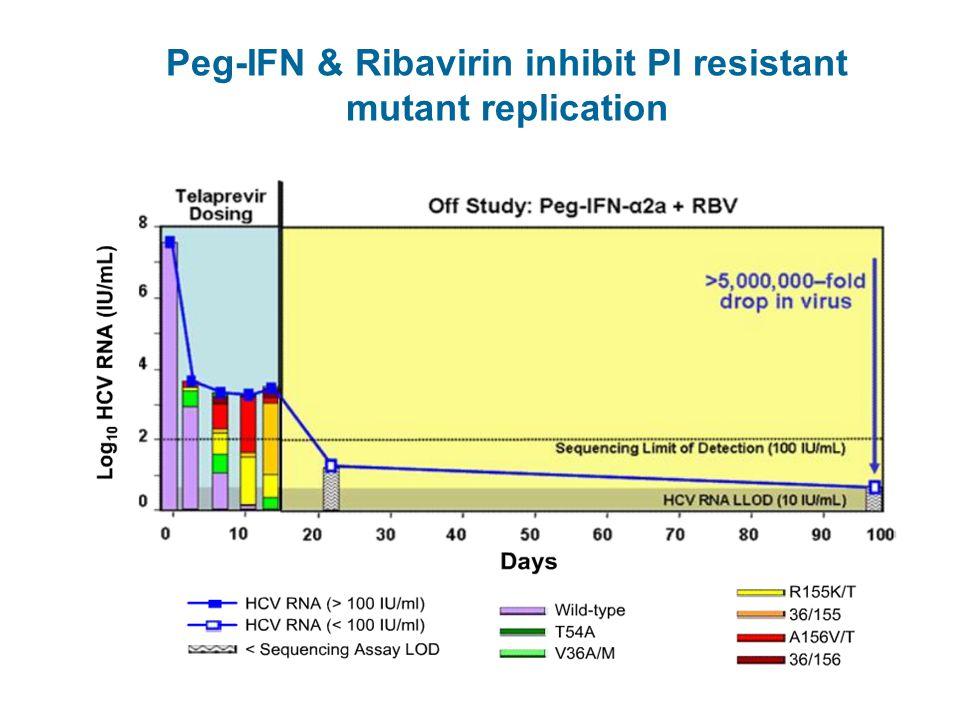 Peg-IFN & Ribavirin inhibit PI resistant mutant replication