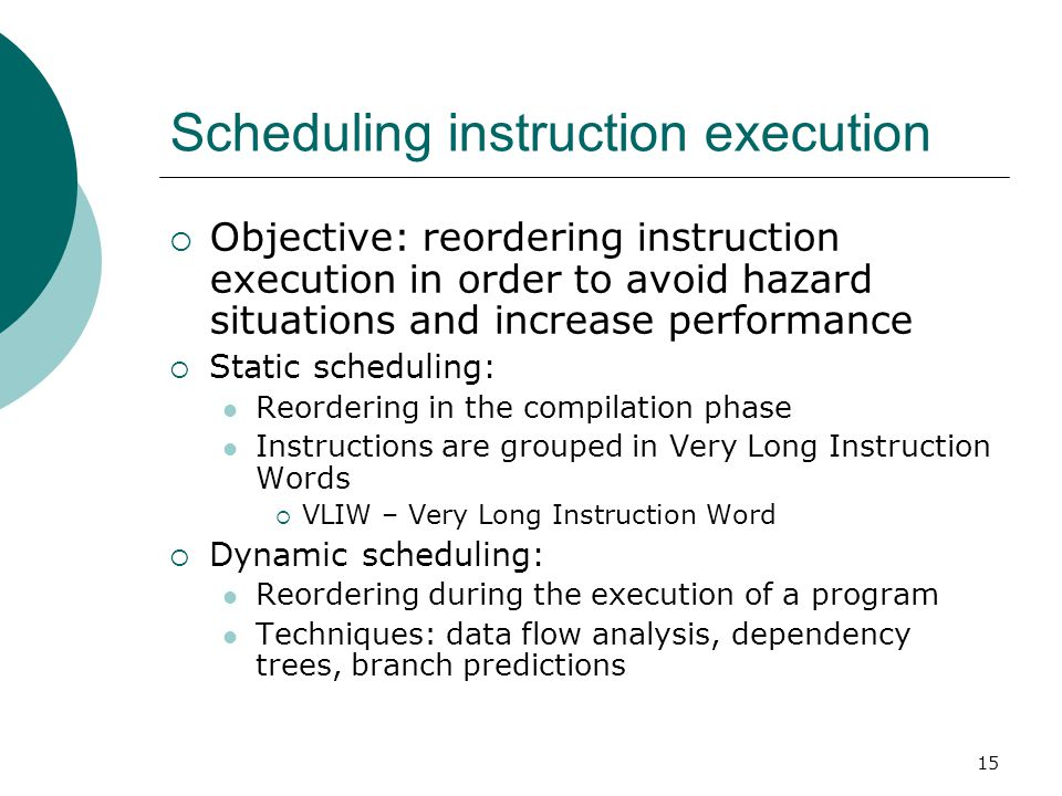 Scheduling instruction execution