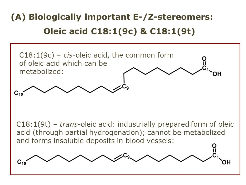 (A) Biologically important E-/Z-stereomers: