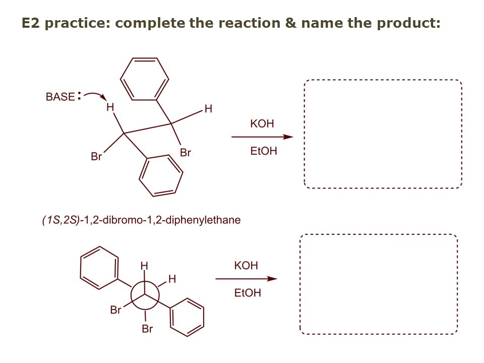 E2 practice: complete the reaction & name the product: