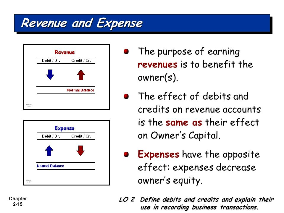 Revenue and Expense The purpose of earning revenues is to benefit the owner(s).