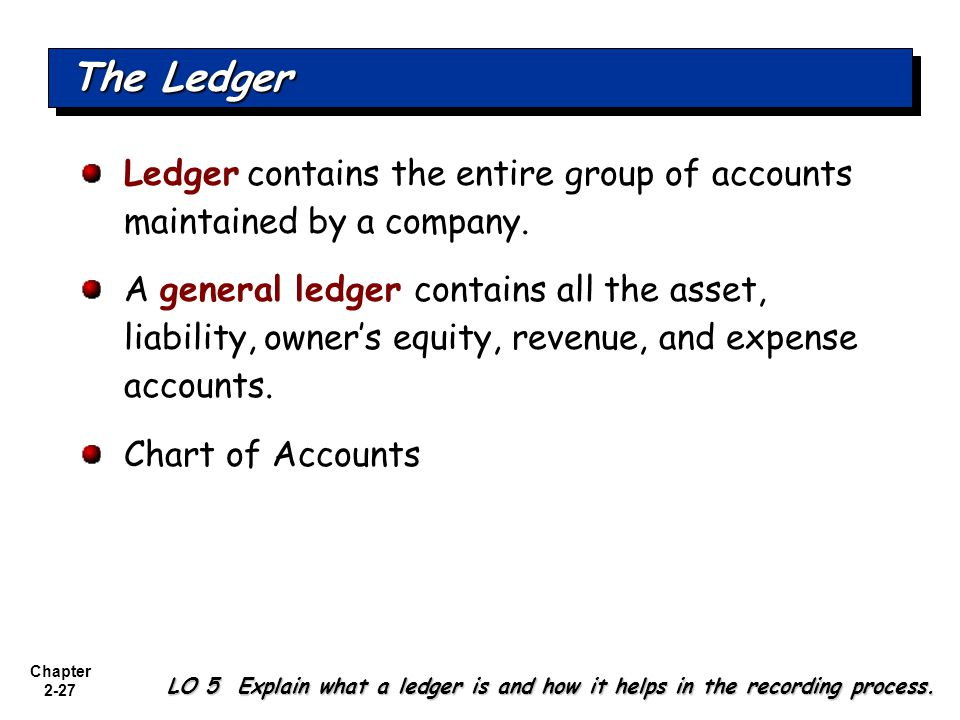 The Ledger Ledger contains the entire group of accounts maintained by a company.