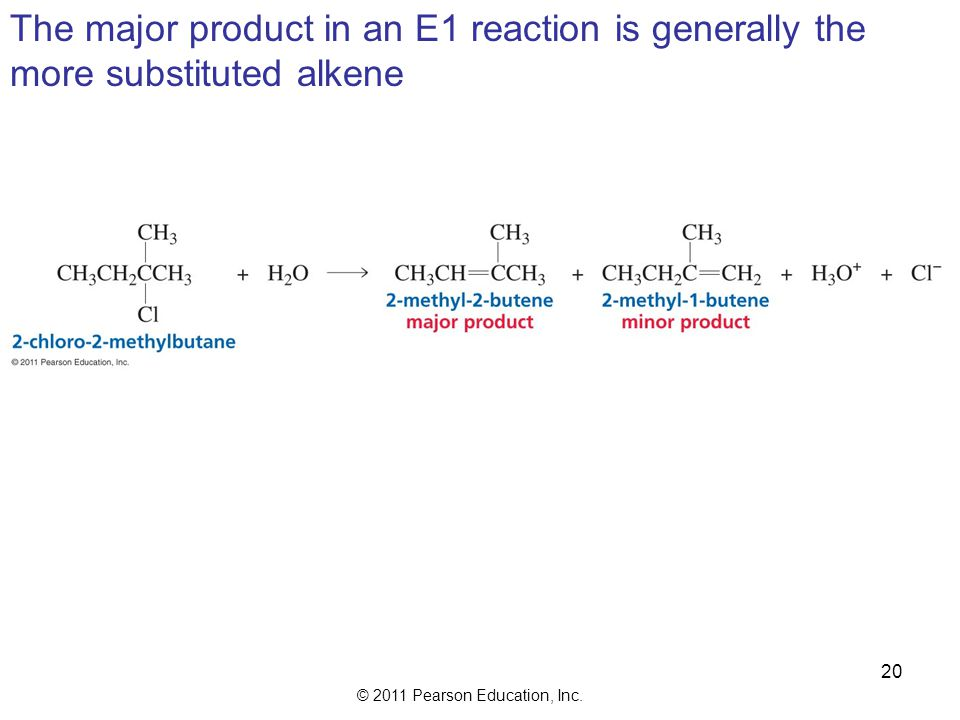 The major product in an E1 reaction is generally the