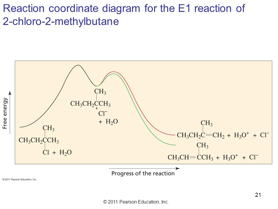 Reaction coordinate diagram for the E1 reaction of
