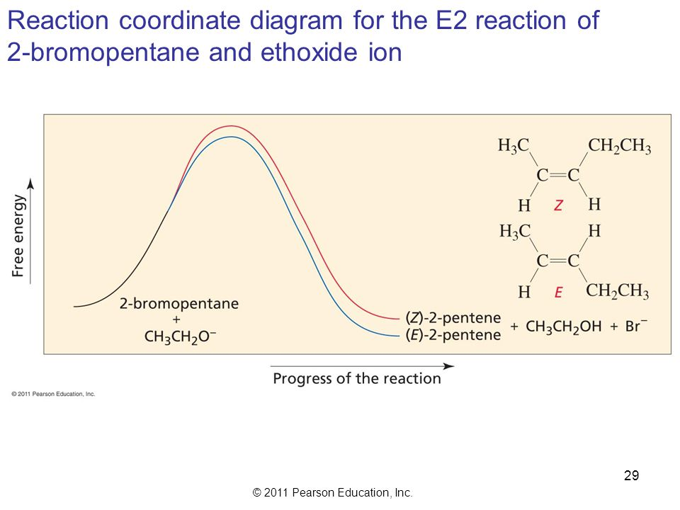 Reaction coordinate diagram for the E2 reaction of