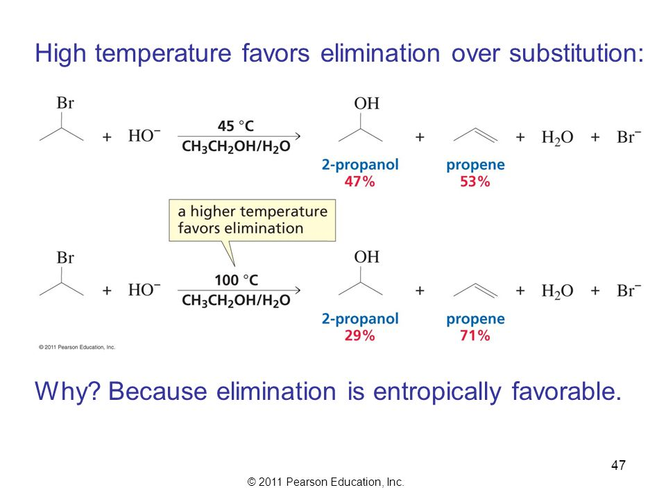 High temperature favors elimination over substitution:
