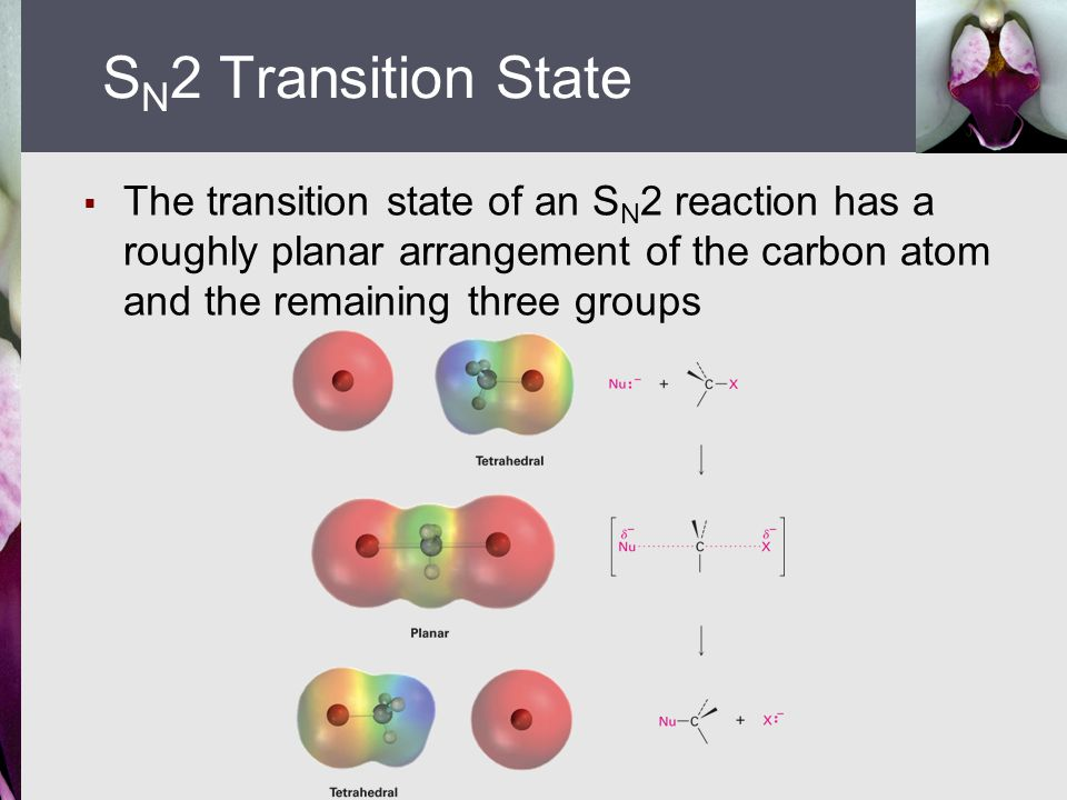 SN2 Transition State The transition state of an SN2 reaction has a roughly planar arrangement of the carbon atom and the remaining three groups.