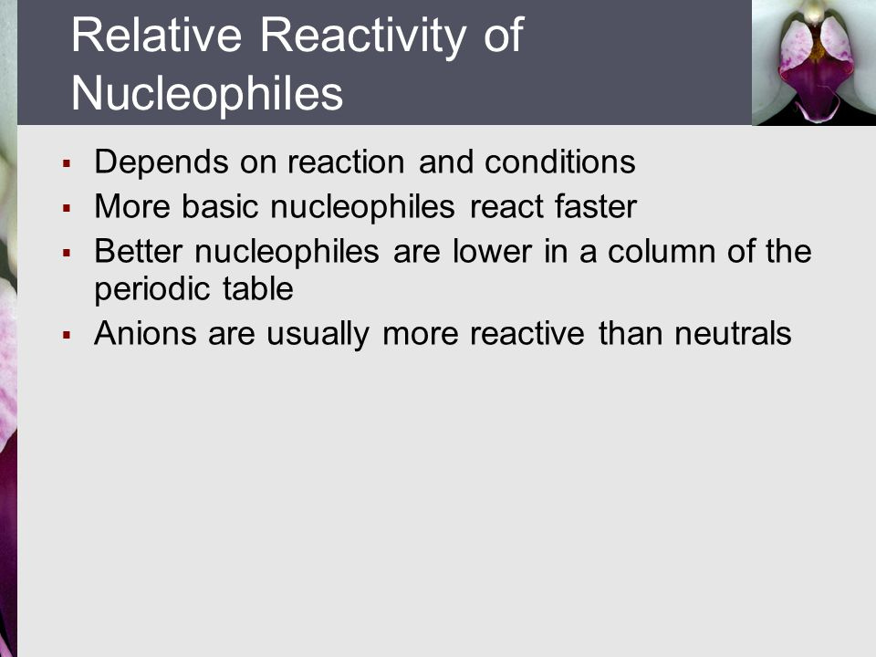 Relative Reactivity of Nucleophiles