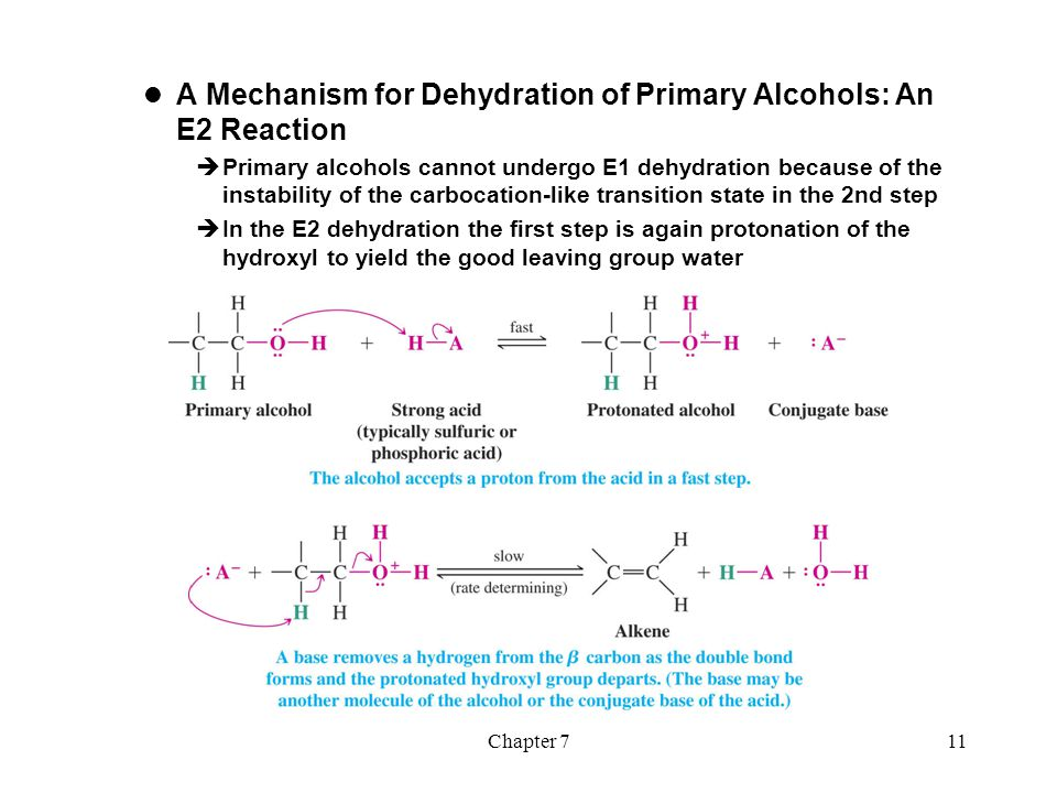 A Mechanism for Dehydration of Primary Alcohols: An E2 Reaction