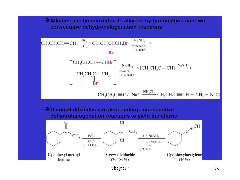 Alkenes can be converted to alkynes by bromination and two consecutive dehydrohalogenation reactions